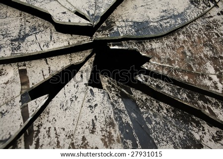 grunge broken window - stock photo