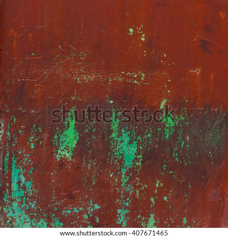 grunge brown and green painted metal wall - detailed photo texture - stock photo