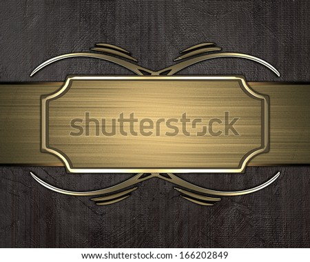Grunge Brown background with gold plate with gold trim. Design template