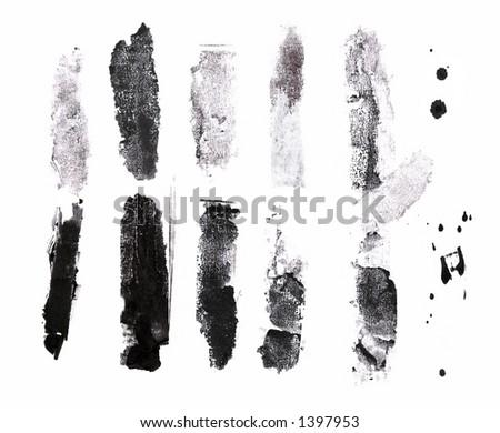 Grunge brushes. Check my portfolio for more brushes. - stock photo