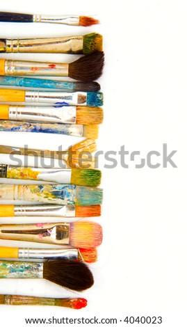 grunge brushes. isolated - stock photo