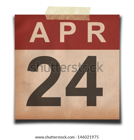 Grunge calendar for April  on white background - stock photo