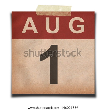 Grunge calendar for August on white background - stock photo