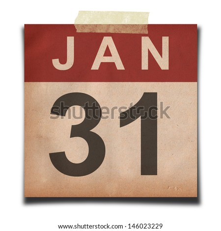 Grunge calendar for january on white background - stock photo