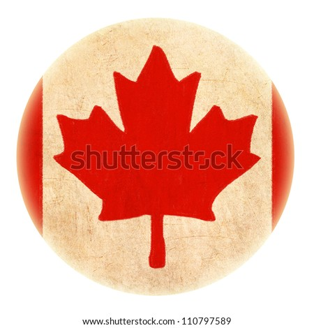 grunge Canada flag drawing button - stock photo