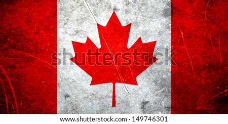 Grunge canadian flag with scratched stone texture - stock photo