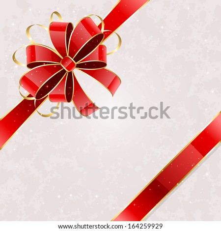 Grunge card with red holiday bow, illustration. - stock photo