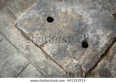 Grunge Cement cover of water drain hole as background