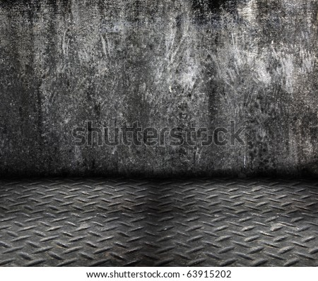 grunge cement wall with metal floor in dirty room style - stock photo