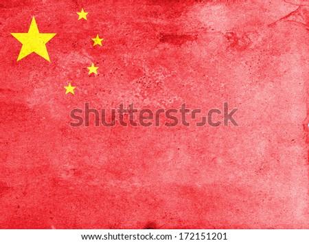 Grunge China Flag  - stock photo