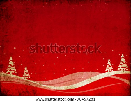 grunge christmas design with trees - stock photo