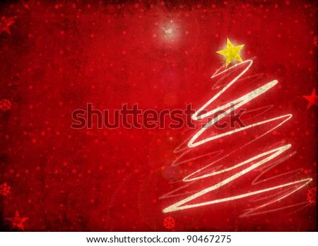grunge christmas tree - stock photo