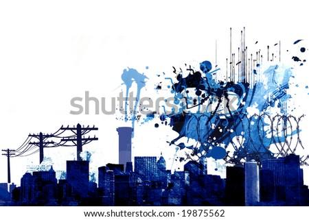 Grunge cityscape - stock photo