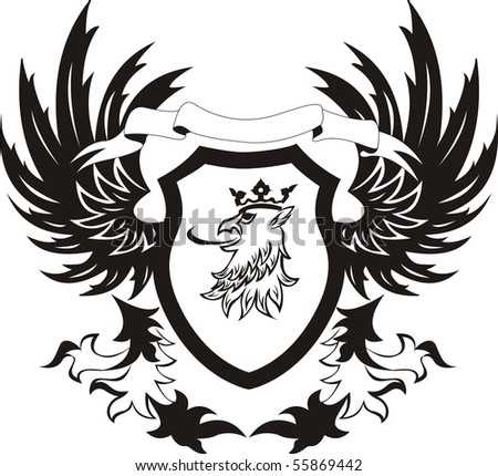 Grunge coat of arms with griffon head - stock photo