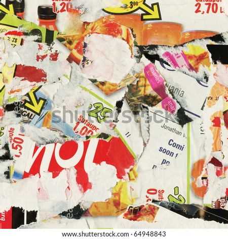Grunge collage background made of torn advertisement posters, magazines. - stock photo