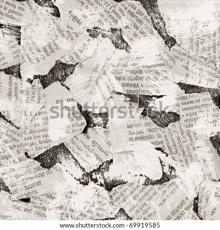 Grunge collage background made of torn newspaper - stock photo