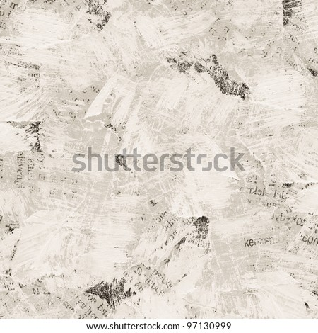 Grunge collage background made of torn painted newspaper - stock photo