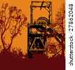 Grunge Colliery Bitmap Background - stock photo