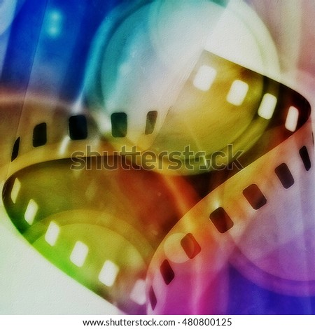 grunge color film strip background and texture