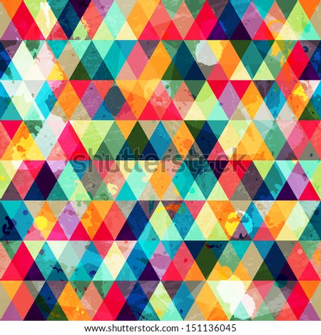 grunge colored triangle seamless pattern (raster version) - stock photo