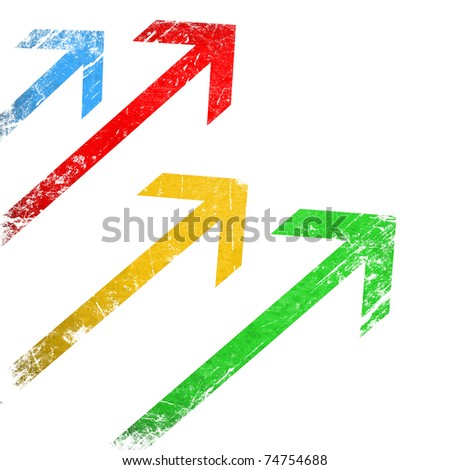 Grunge colorful arrows on white background - stock photo