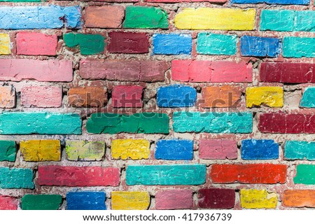 Grunge colorful brick wall texture
