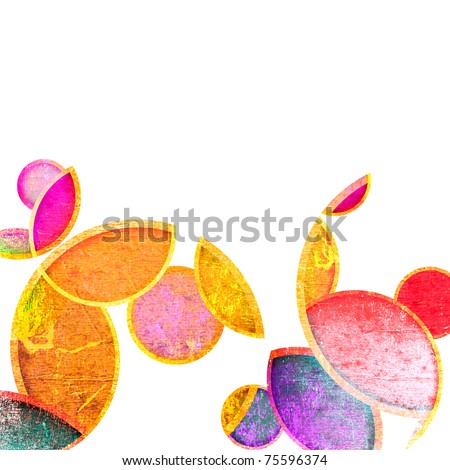 grunge colorful circles on a white background - stock photo