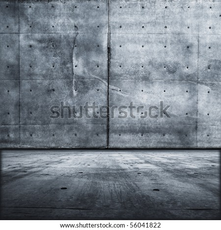 Grunge concrete room - stock photo