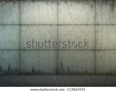 Grunge  concrete wall and floor closeup - stock photo
