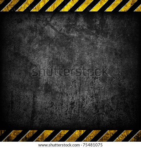 grunge concrete with warning stripe - stock photo