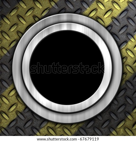 Grunge construction background with a  diamond metal plate and a brushed aluminum O ring with a black hole. - stock photo