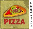 Grunge Cover for Pizza Menu -  slice of pizza on vintage background - JPEG version - stock photo