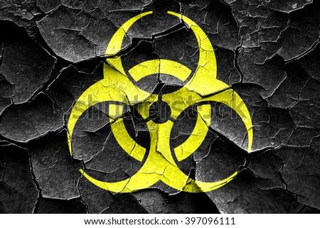 Grunge cracked Bio hazard sign on a grunge background - stock photo