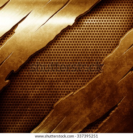 Grunge cracked gold metal plate with grid - stock photo