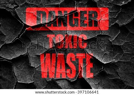 Grunge cracked Toxic waste sign - stock photo