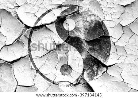 Grunge cracked Ying yang symbol - stock photo