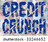 grunge Credit Crunch text with EU flag and euros illustration - stock vector