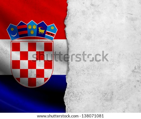 Grunge Croatia flag with paper frame - stock photo