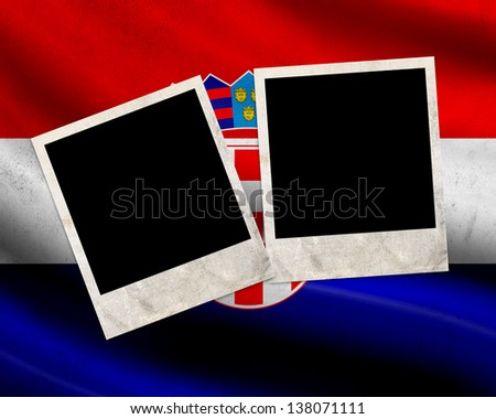 Grunge Croatia flag with photo frames - stock photo