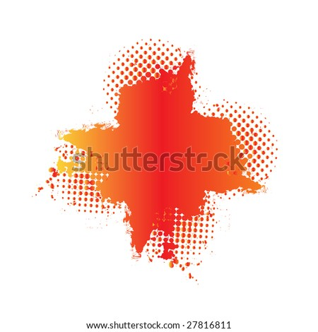 Grunge cross in colorful gradient on a white background