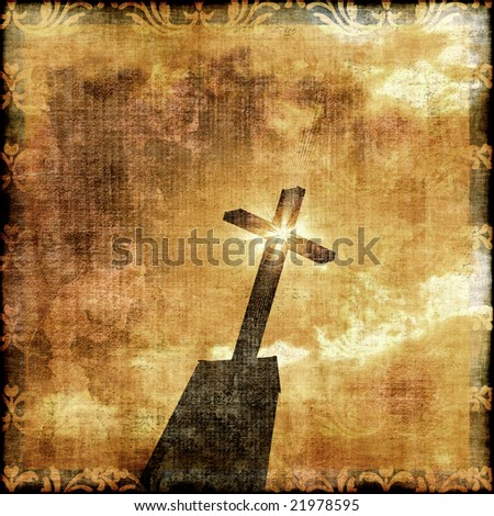 Grunge Cross Silhouette With Star Effect - stock photo