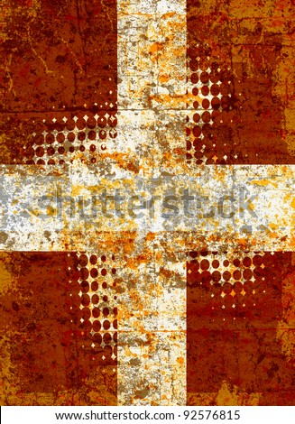 Grunge cross with halftone pattern - stock photo
