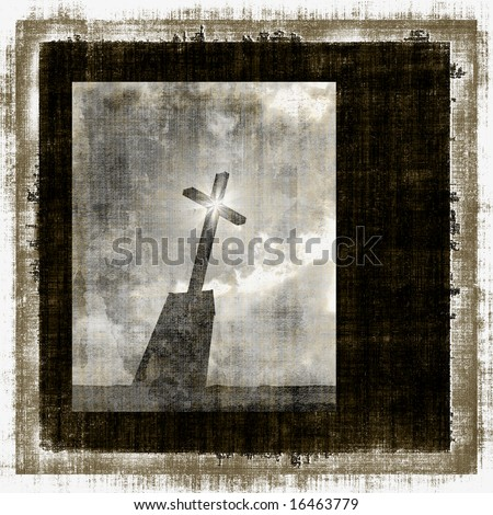 Grunge Cross With Star Effect - stock photo