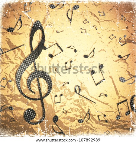 grunge crushed paper texture,  abstract music background - stock photo