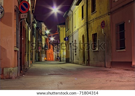 grunge dark alley, slums of the city, dirty corner of street, the decadent old town, street at night in the slum, distressed italian alleyway - stock photo