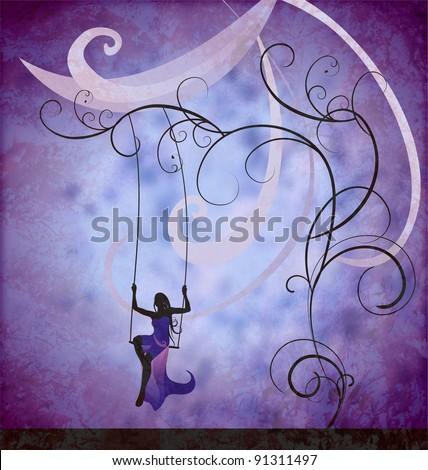 grunge dark blue illustration  of model in long evening dress sitting on the swings - stock photo