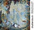 grunge denim background with patterns - stock photo