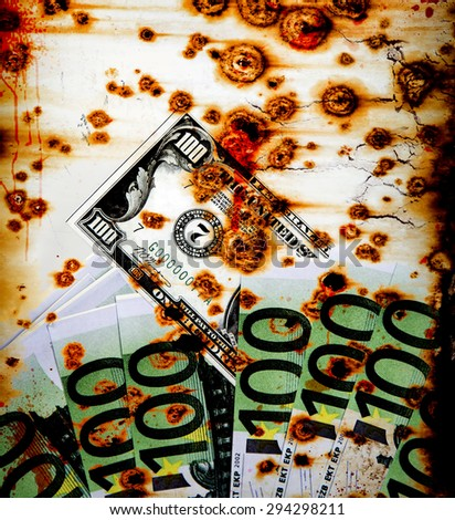 Grunge Dirty Money Background - stock photo