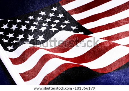 Grunge distressed aged old USA flag for Memorial Day, D-day 6 June 1944, 70th anniversary WWII, or 100th anniversary start of WWI events. - stock photo