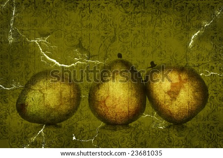 Grunge distressed design of wallpaper with pears